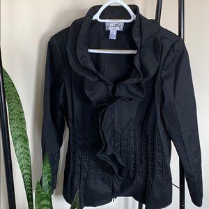 Joseph RIBKOFF black fitted ruffle blazer